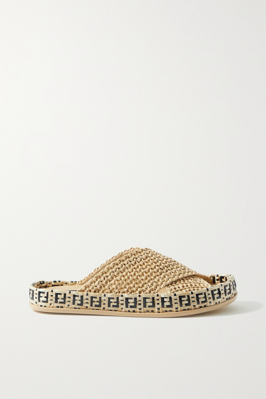 FENDI Braided raffia slides