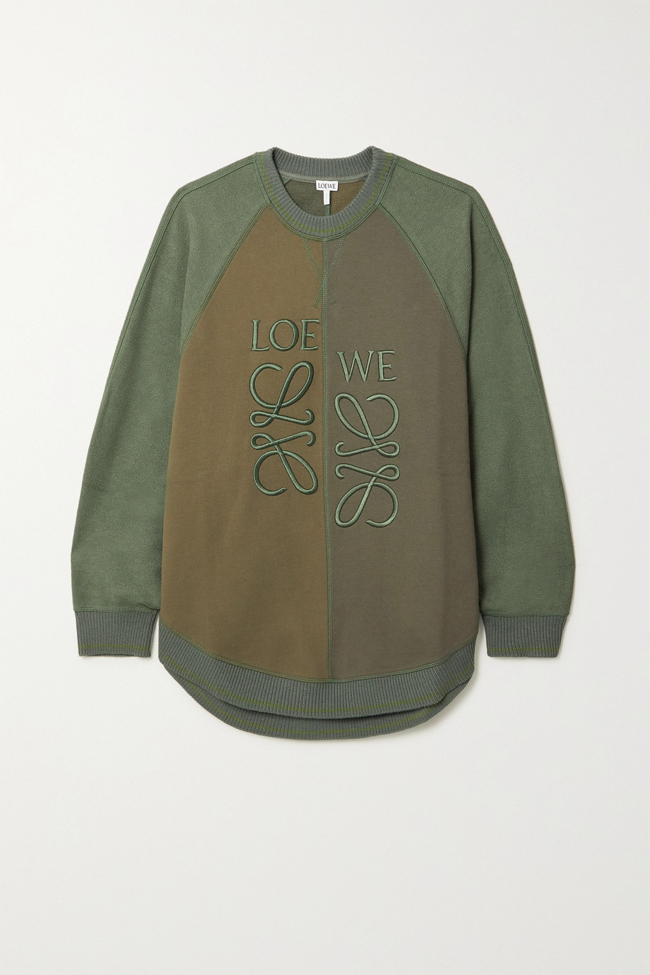 LOEWE Embroidered color-block cotton-jersey sweatshirt