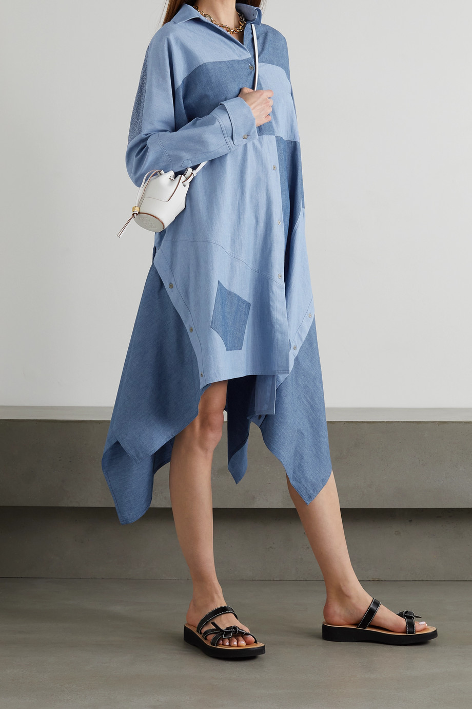 LOEWE Asymmetric patchwork cotton-chambray shirt dress