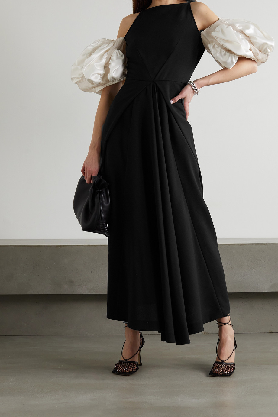 LOEWE Cold-shoulder crepe and satin maxi dress