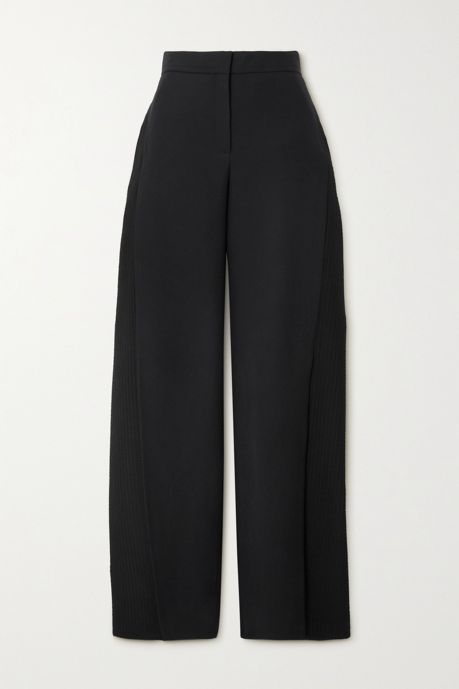 LOEWE Paneled wool and seersucker wide-leg pants