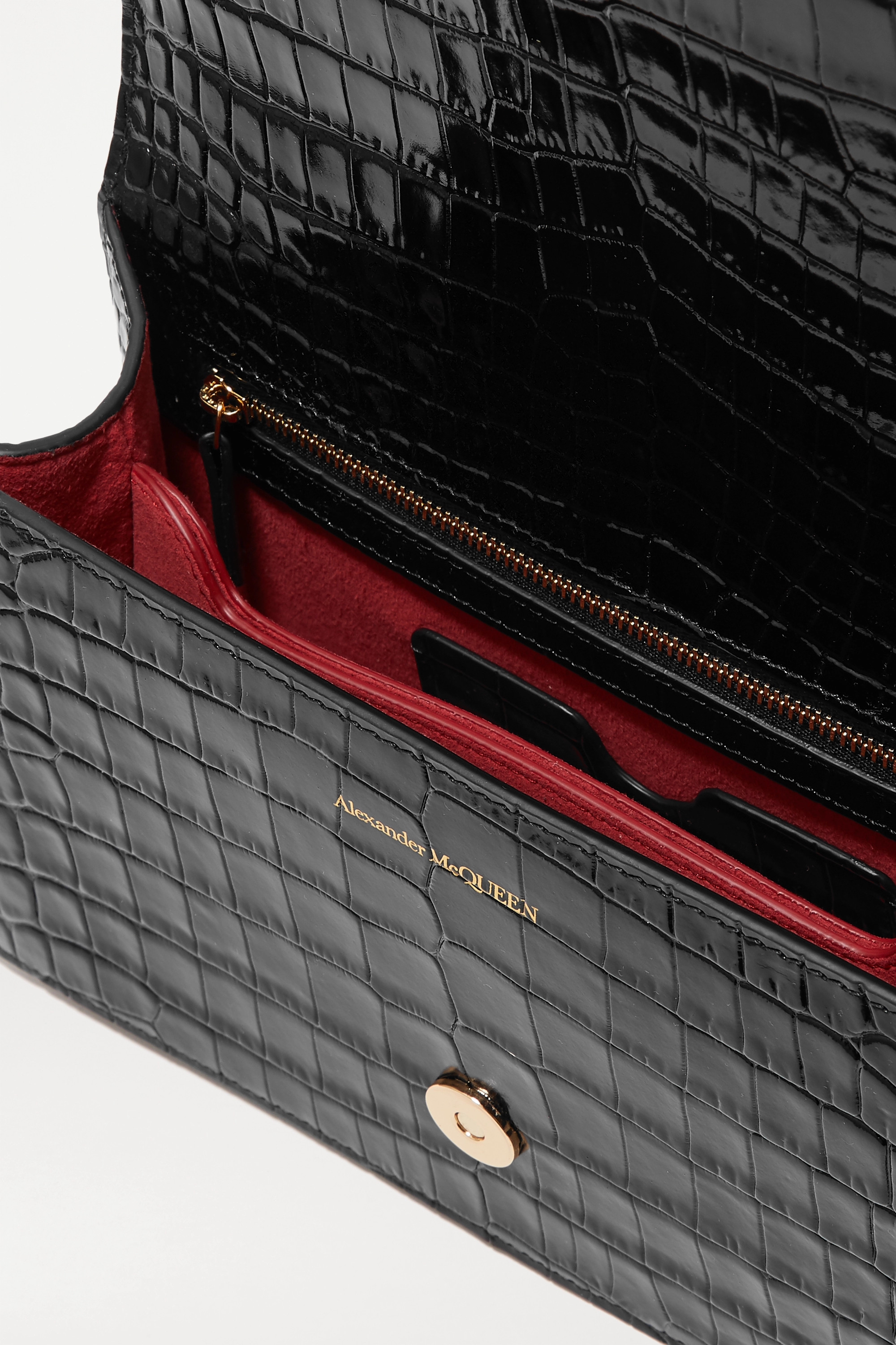 ALEXANDER MCQUEEN Jewelled Satchel embellished croc-effect leather shoulder bag
