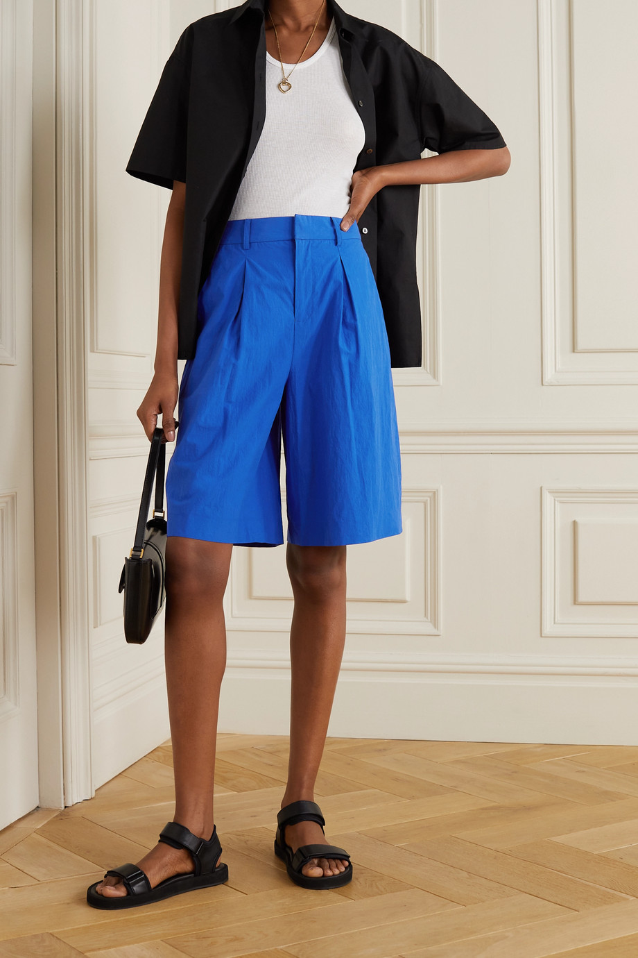 JASON WU Pleated crinkled-cotton shorts