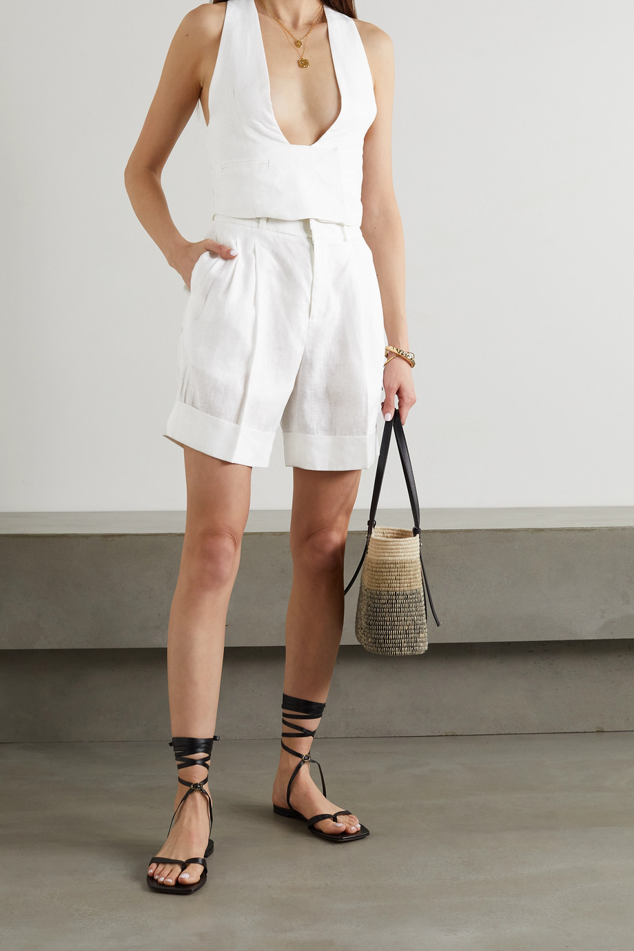 ÀCHEVAL PAMPA + NET SUSTAIN Gardel pleated linen shorts