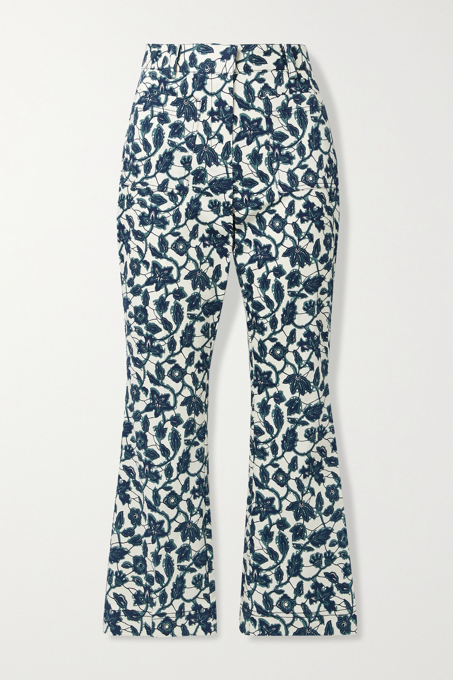 DEREK LAM 10 CROSBY Laurie cropped floral-print cotton-blend twill flared pants