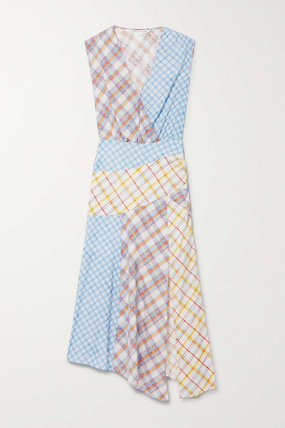 VERONICA BEARD Wixson ruched patchwork checked silk-blend crepe de chine midi dress