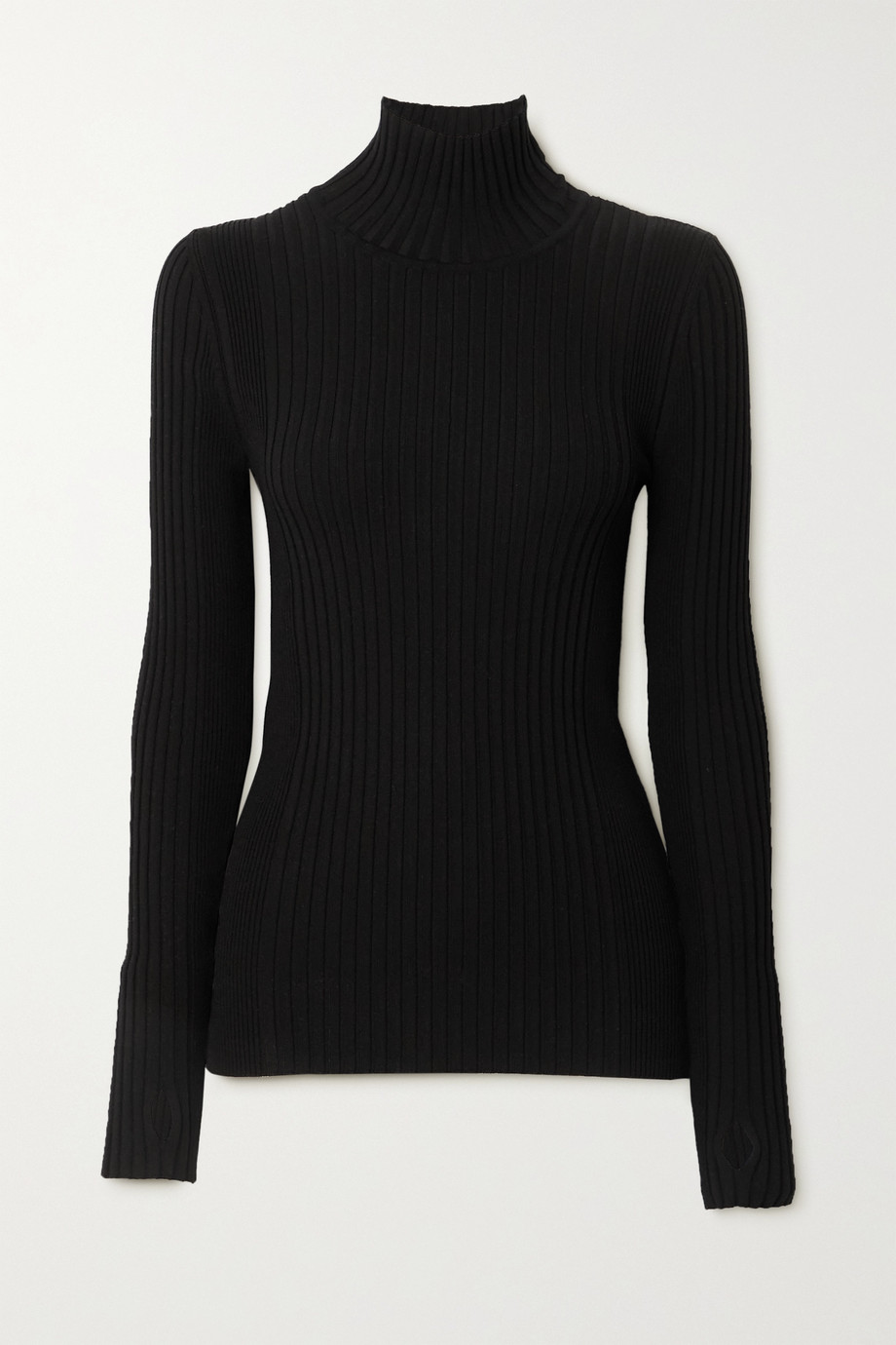PACO RABANNE Kinetic zip-detailed ribbed cotton-blend turtleneck sweater