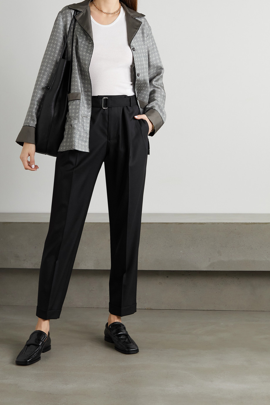 OFFICINE GÉNÉRALE Pierre belted pleated wool straight-leg pants