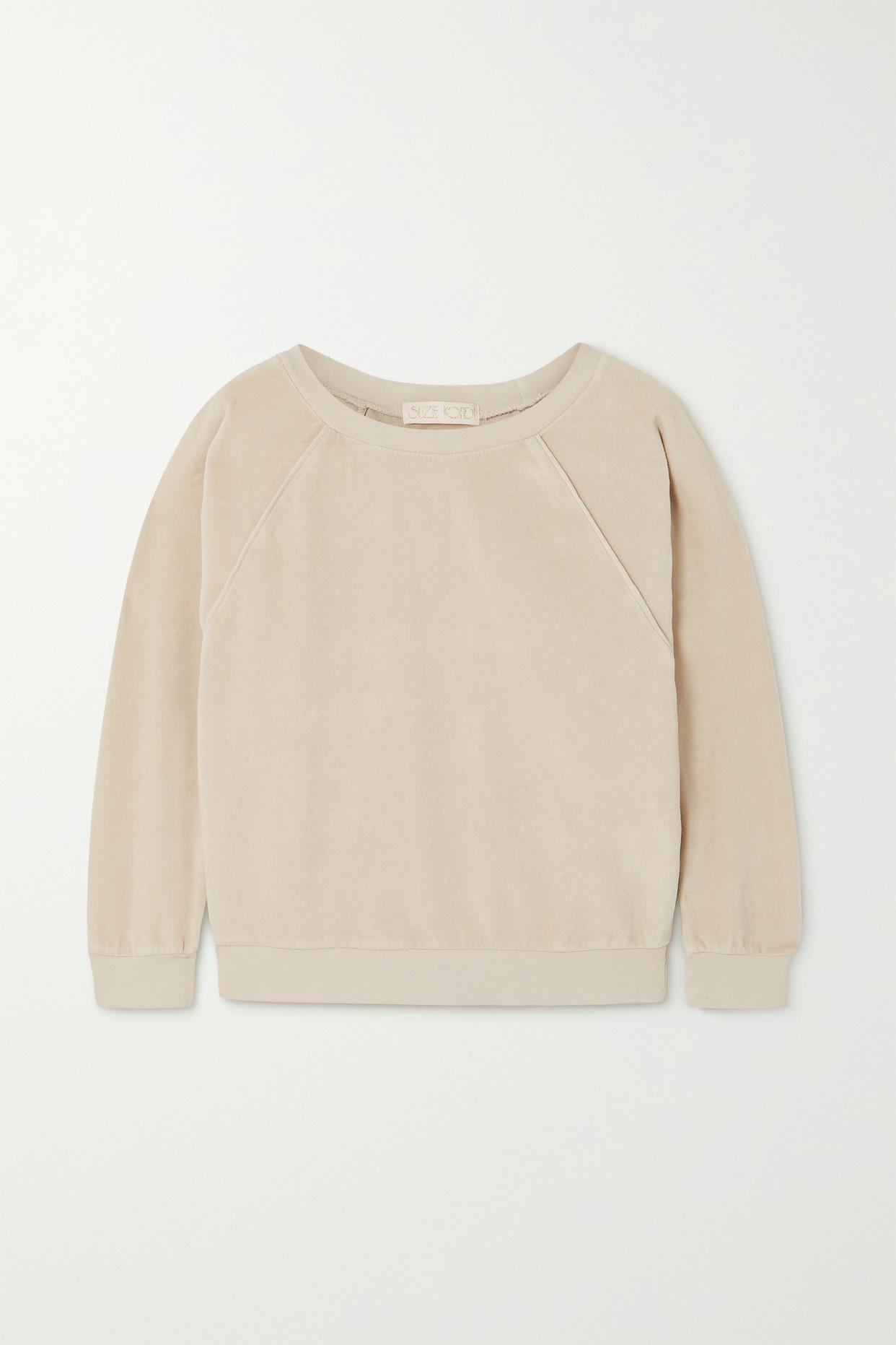 SUZIE KONDI - Cotton-blend Velour Sweatshirt - Off-white - x small