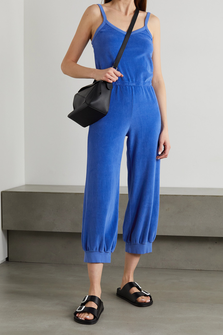 SUZIE KONDI Tank cropped cotton-blend velour jumpsuit