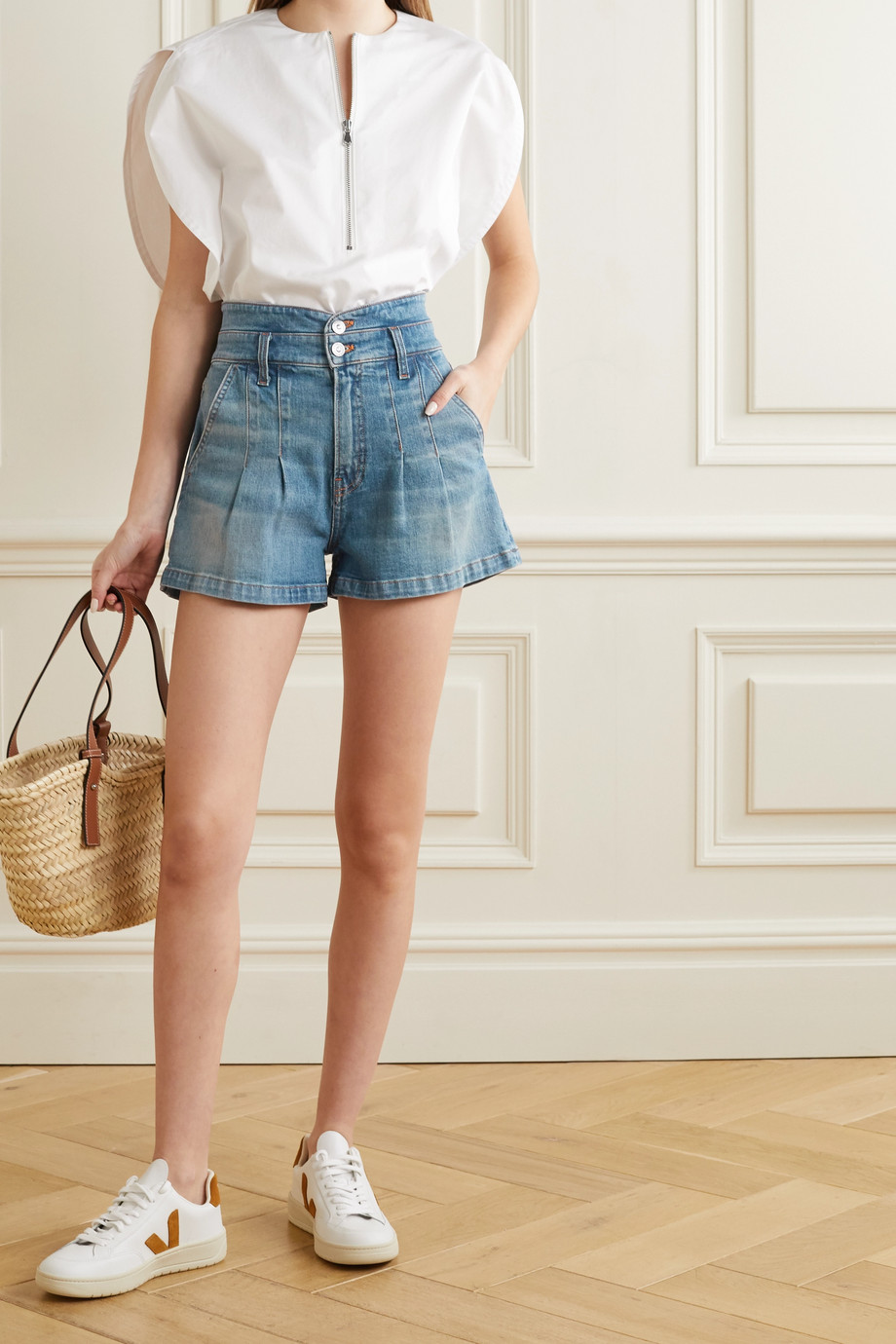 VERONICA BEARD Jaylen pleated denim shorts