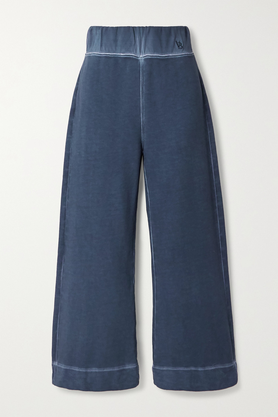VERONICA BEARD Hartley cropped cotton-terry wide-leg pants