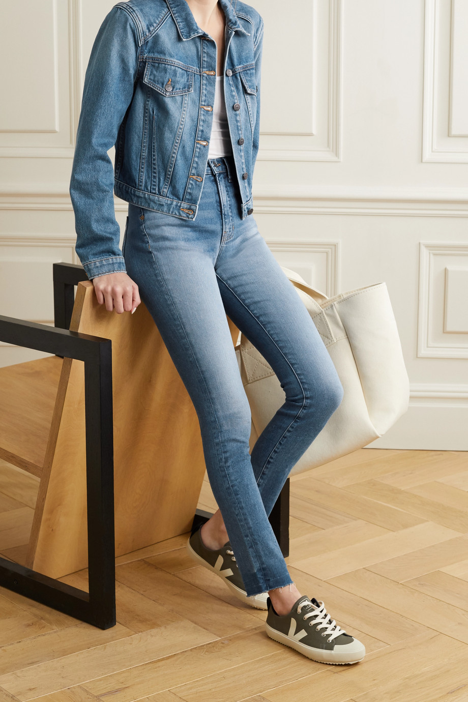 VERONICA BEARD Debbie frayed high-rise skinny jeans
