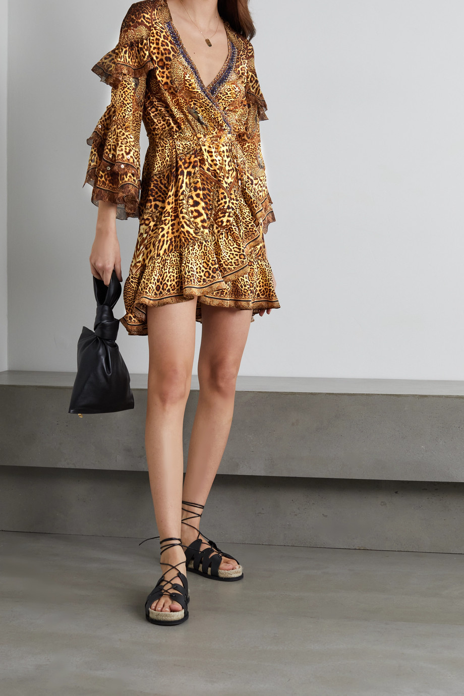 CAMILLA Lady Lodge embellished ruffled leopard-print silk crepe de chine wrap mini dress