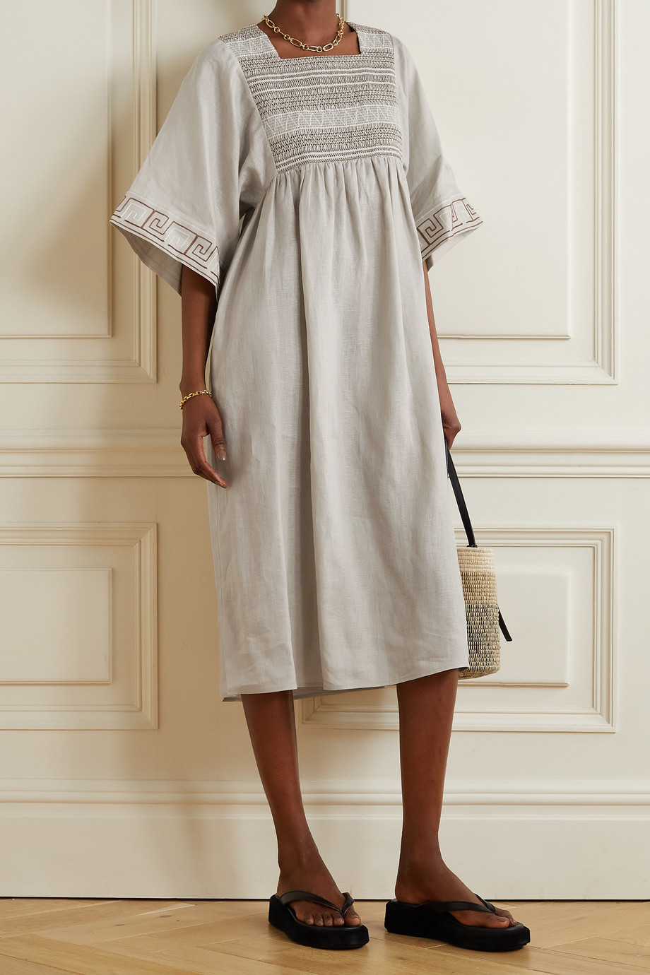 TORY BURCH Embroidered smocked linen midi dress