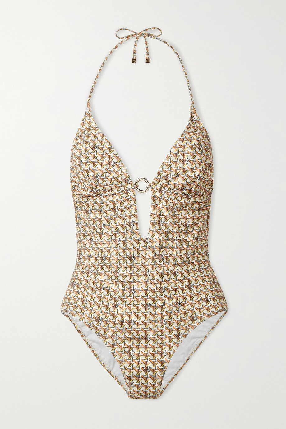 TORY BURCH Embellished printed halterneck swimsuit