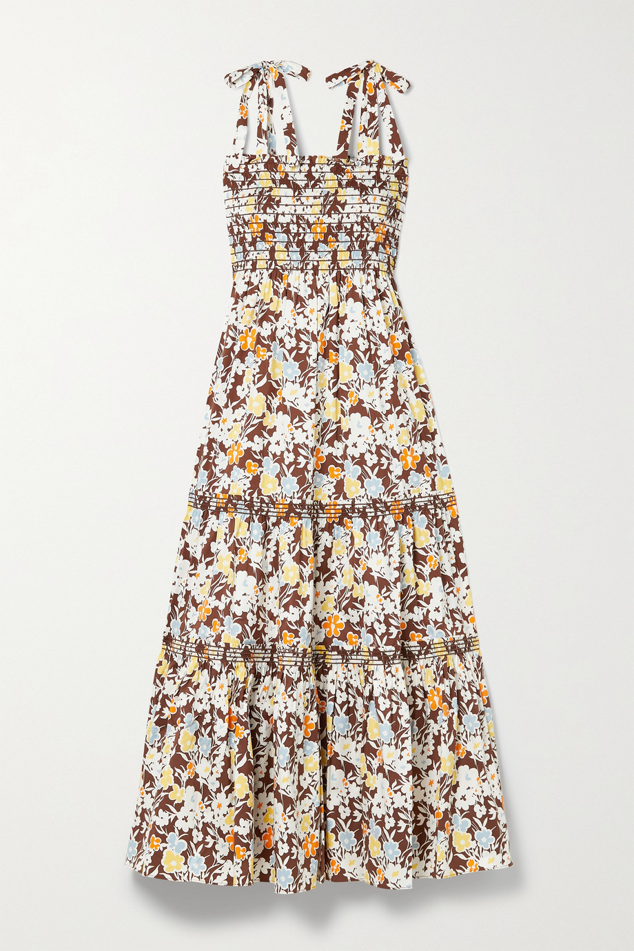TORY BURCH Shirred tiered floral-print cotton-blend poplin midi dress