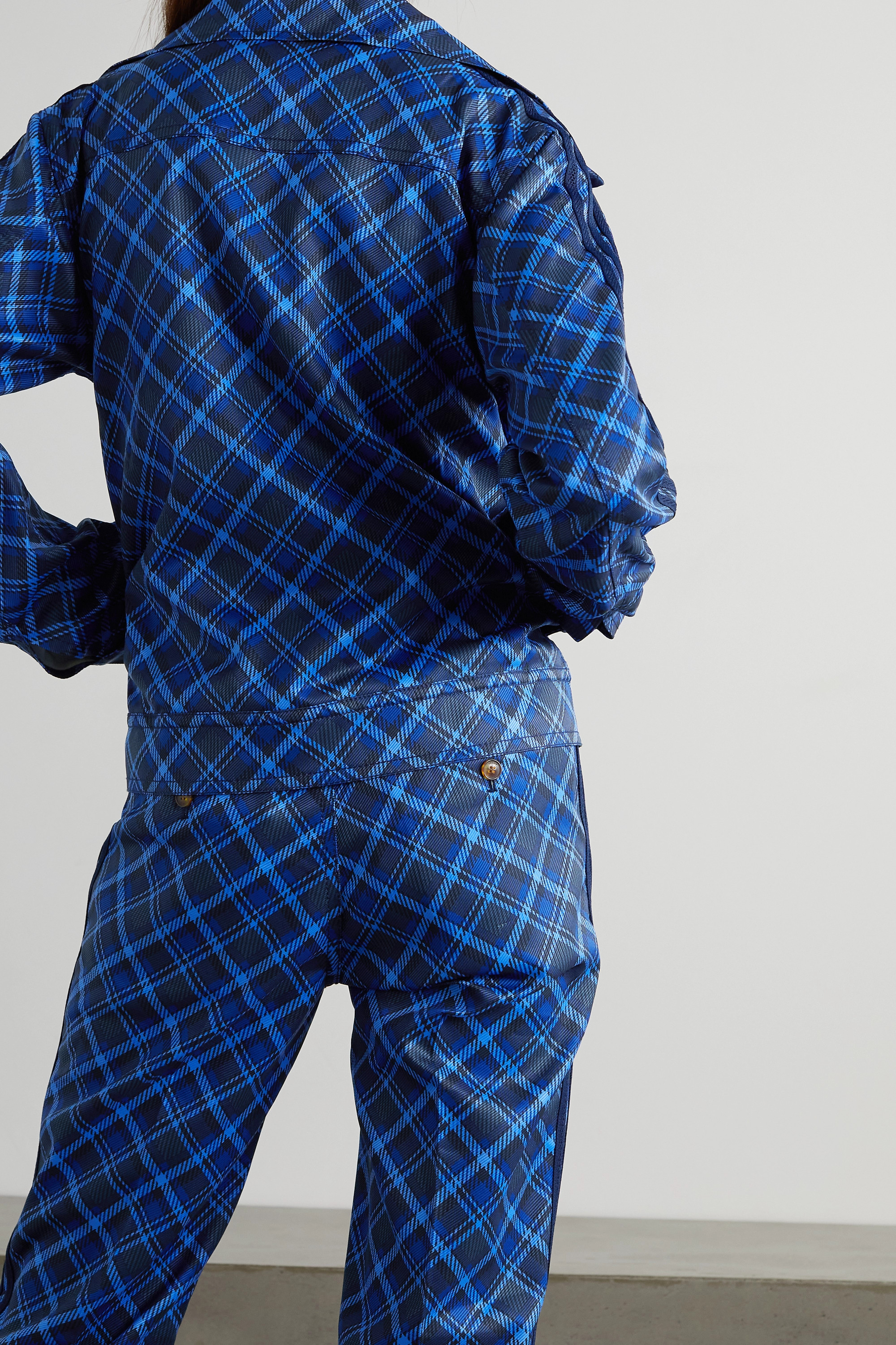 ADIDAS ORIGINALS + Wales Bonner striped checked twill track jacket