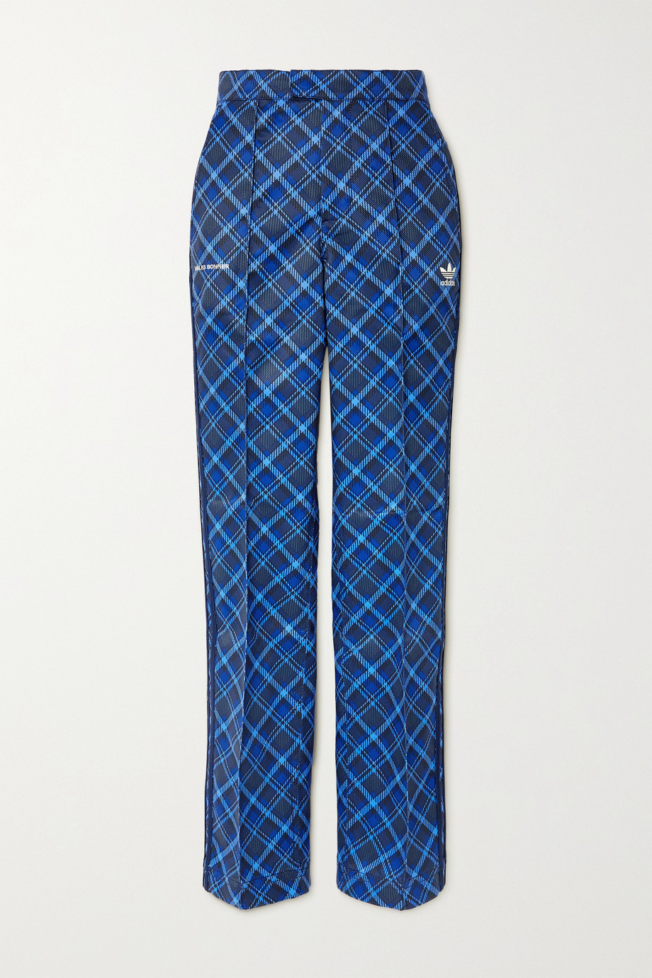 ADIDAS ORIGINALS + Wales Bonner striped checked twill track pants