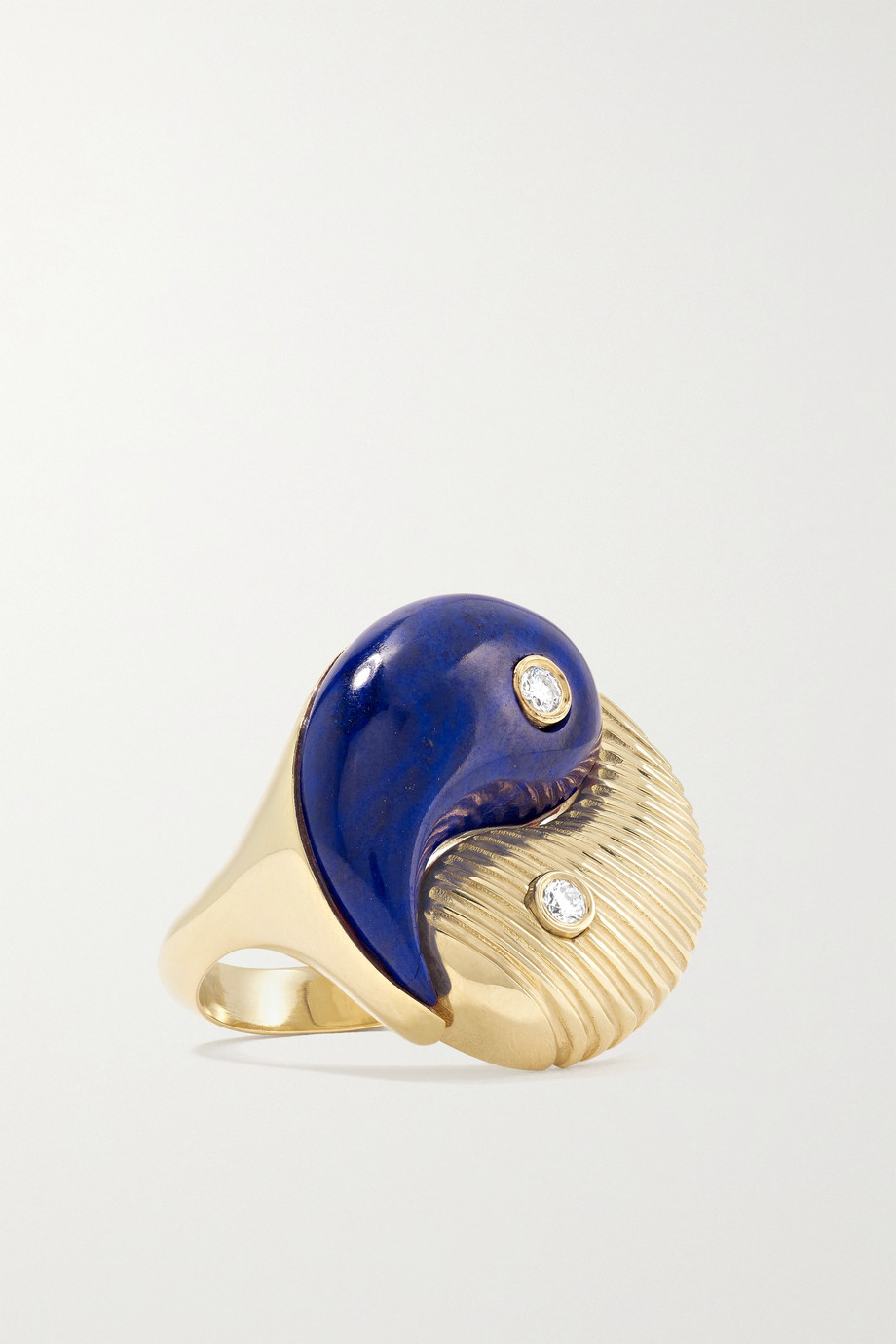 RETROUVAÍ Yin Yang 14-karat gold, lapis lazuli and diamond ring