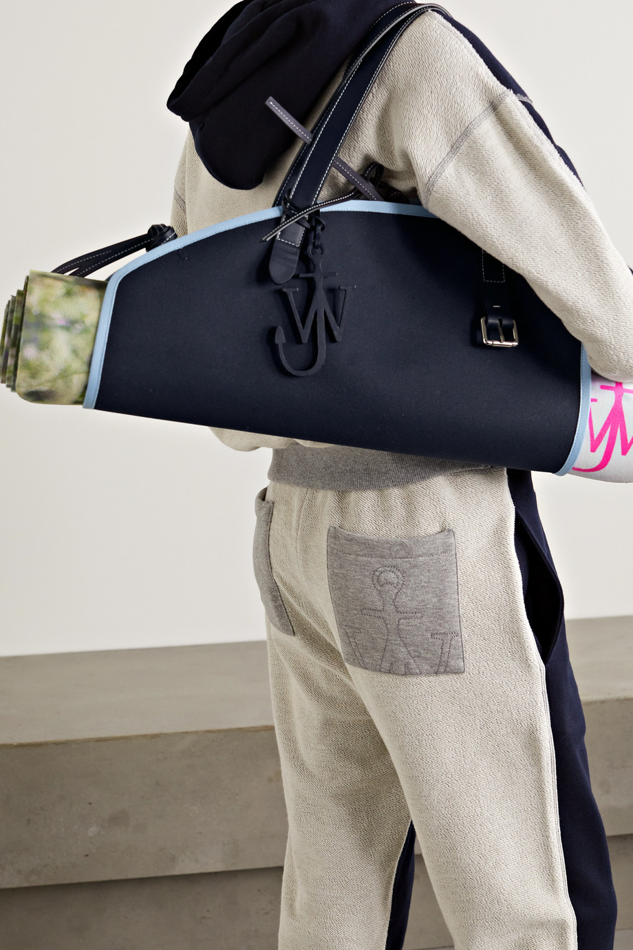 JW ANDERSON Floral-print yoga mat and leather-trimmed canvas bag