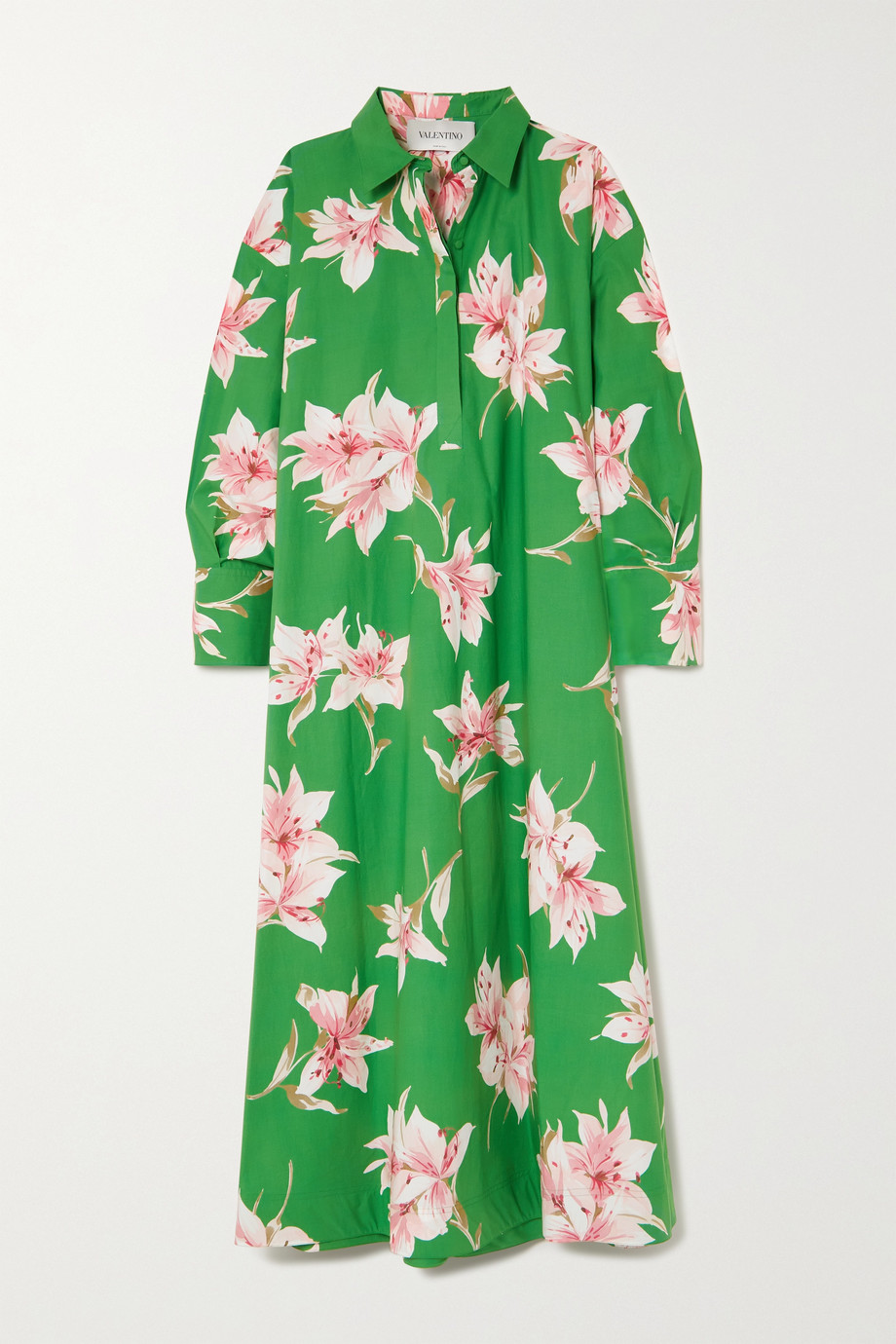 VALENTINO Floral-print cotton-poplin maxi shirt dress