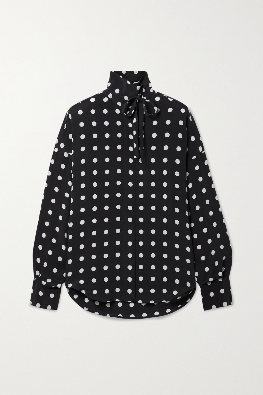 EQUIPMENT Juditha oversized tie-neck polka-dot washed-silk blouse