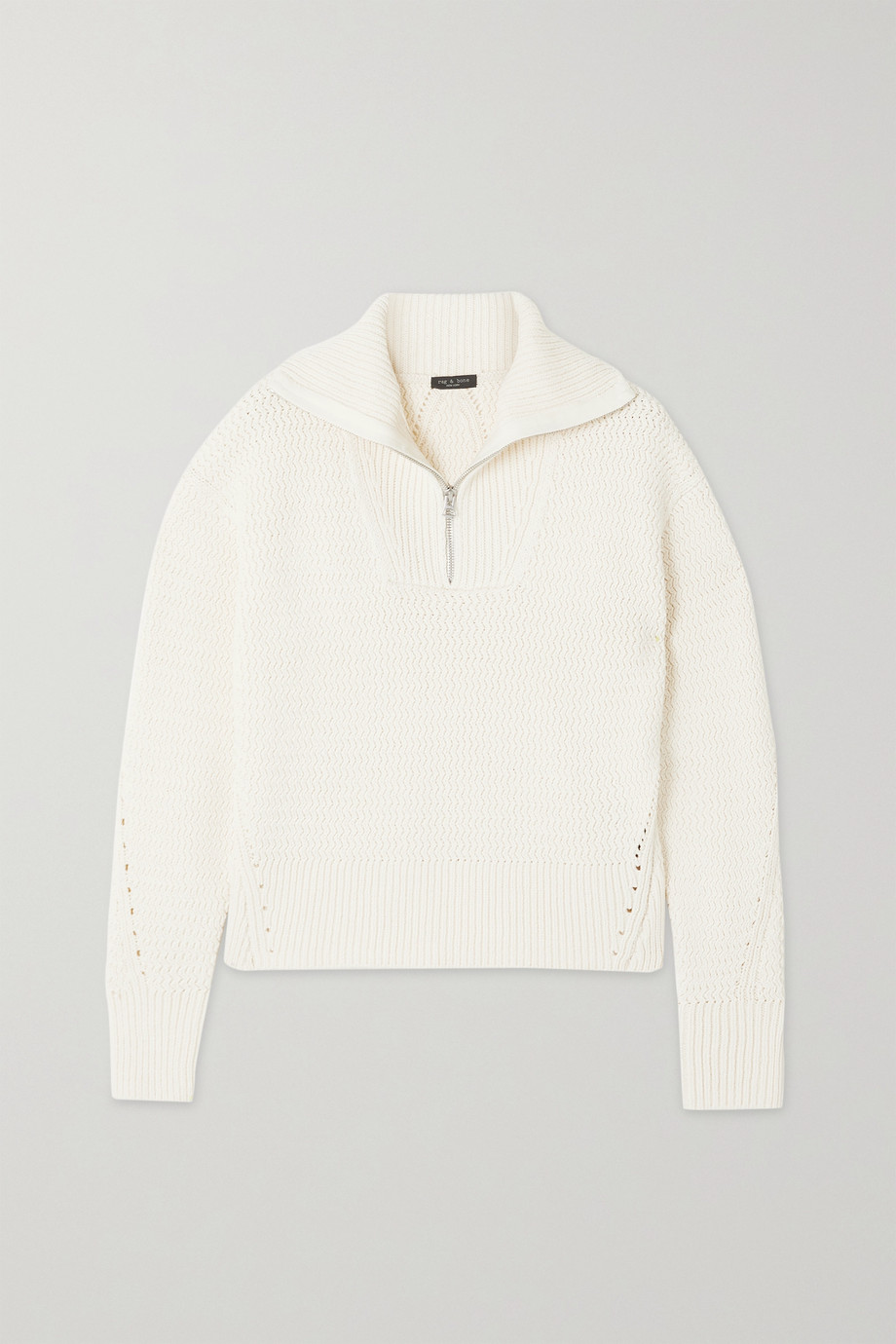 RAG & BONE Lena pointelle-trimmed organic cotton-blend sweater