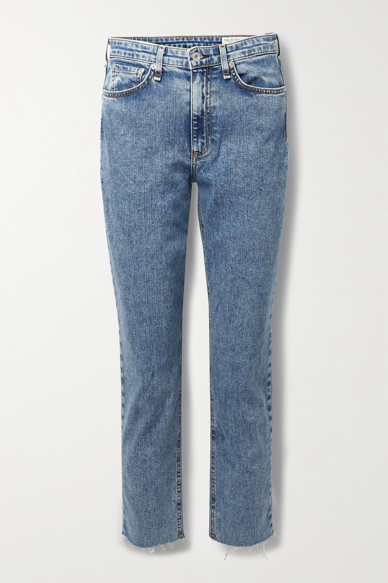 RAG & BONE - Nina Distressed Acid-wash High-rise Straight-leg Jeans - Blue - 31
