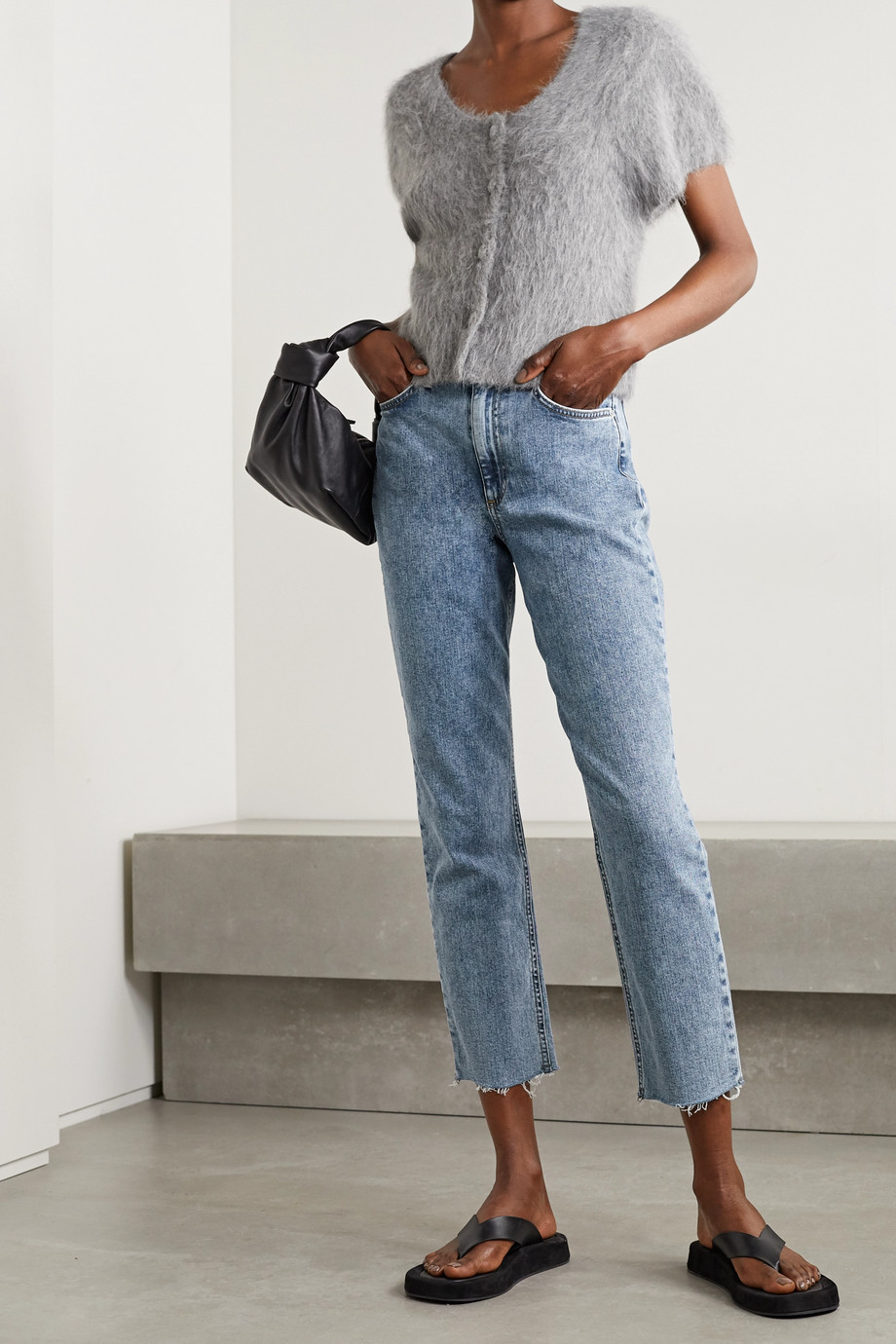 RAG & BONE Nina distressed acid-wash high-rise straight-leg jeans