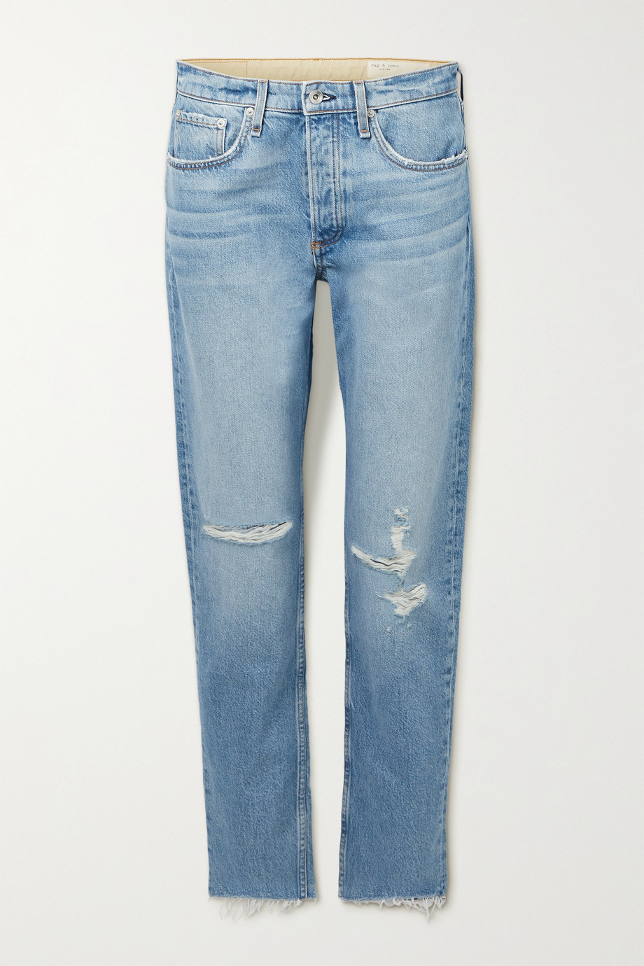 RAG & BONE Rosa distressed mid-rise straight-leg jeans