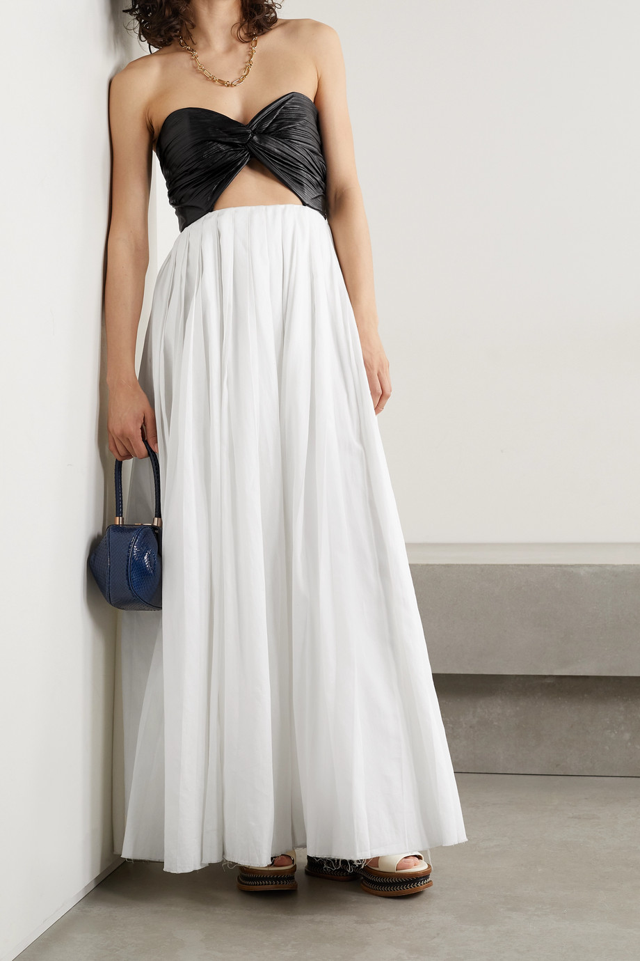 GABRIELA HEARST Greil cutout pleated leather and cotton-voile maxi dress