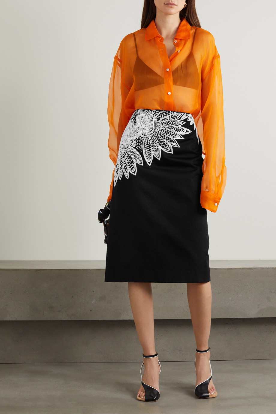 DRIES VAN NOTEN Beaded embroidered cotton-cady skirt