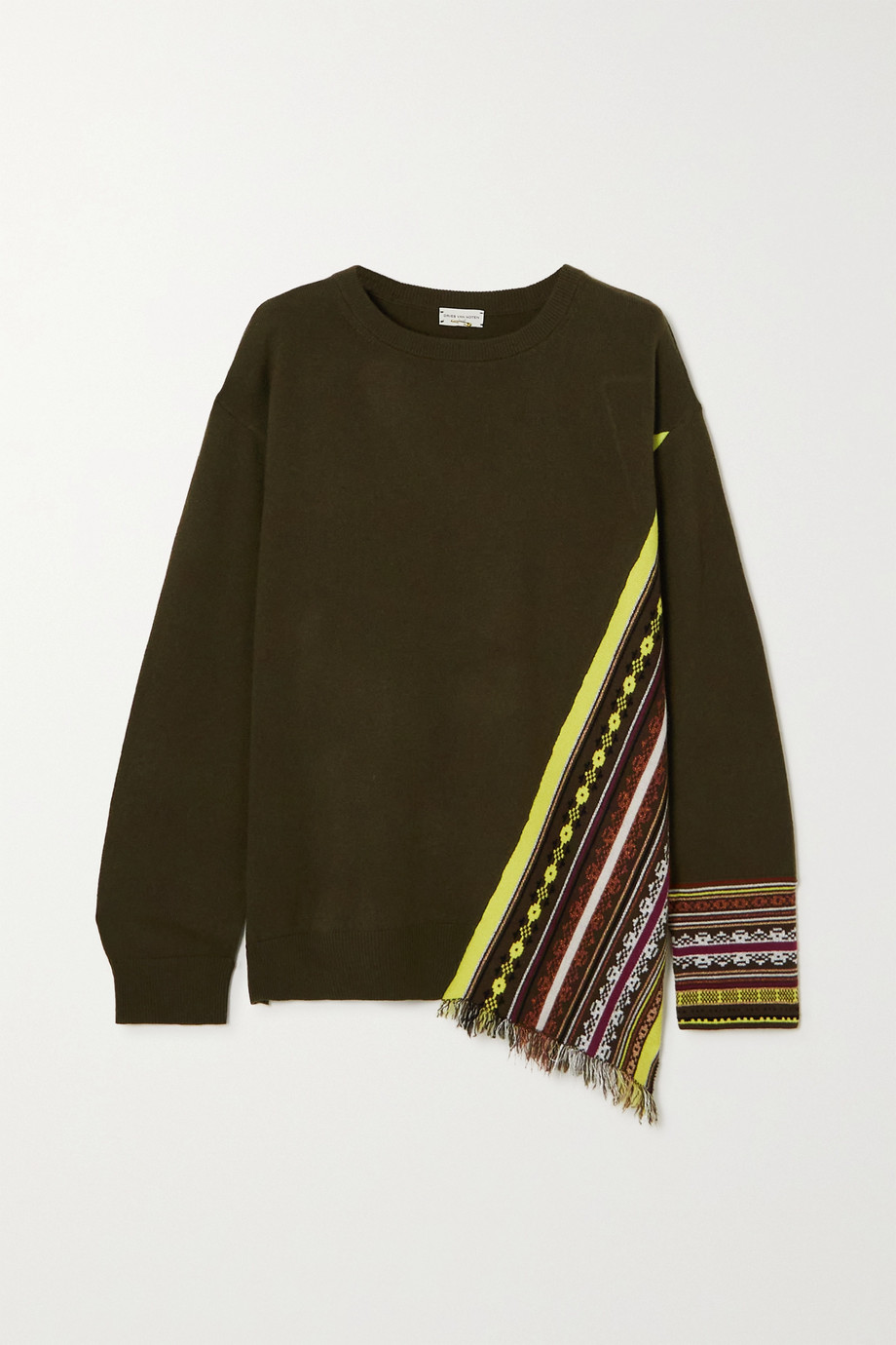 DRIES VAN NOTEN Fringed jacquard-knit cashmere-blend sweater