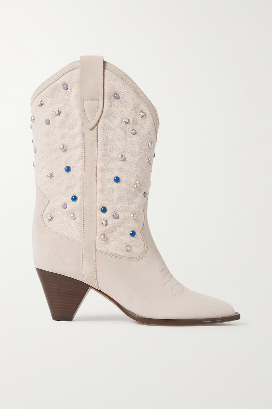 ISABEL MARANT Luliette embellished canvas and suede ankle boots