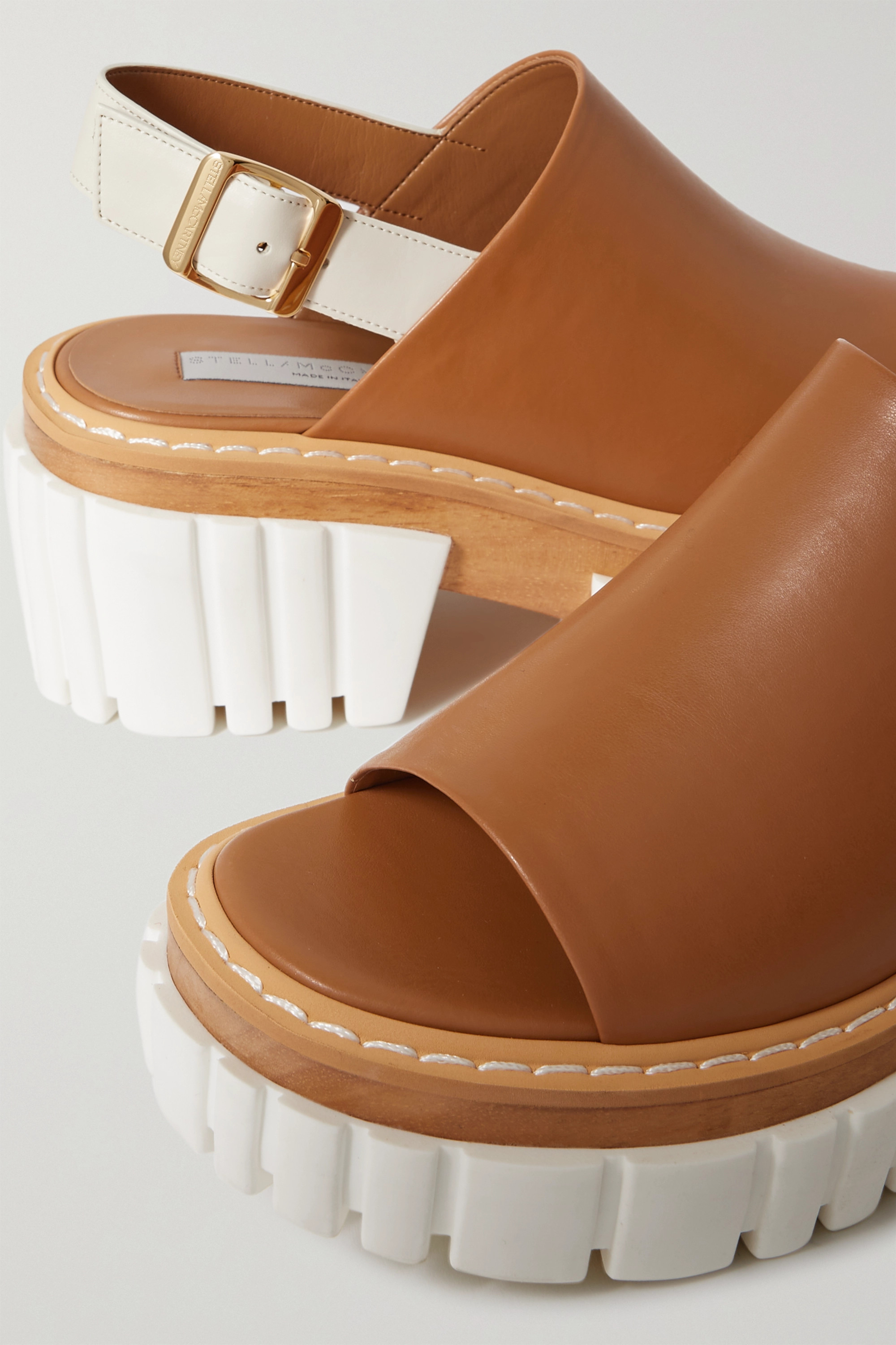 STELLA MCCARTNEY Emilie vegetarian leather slingback platform sandals