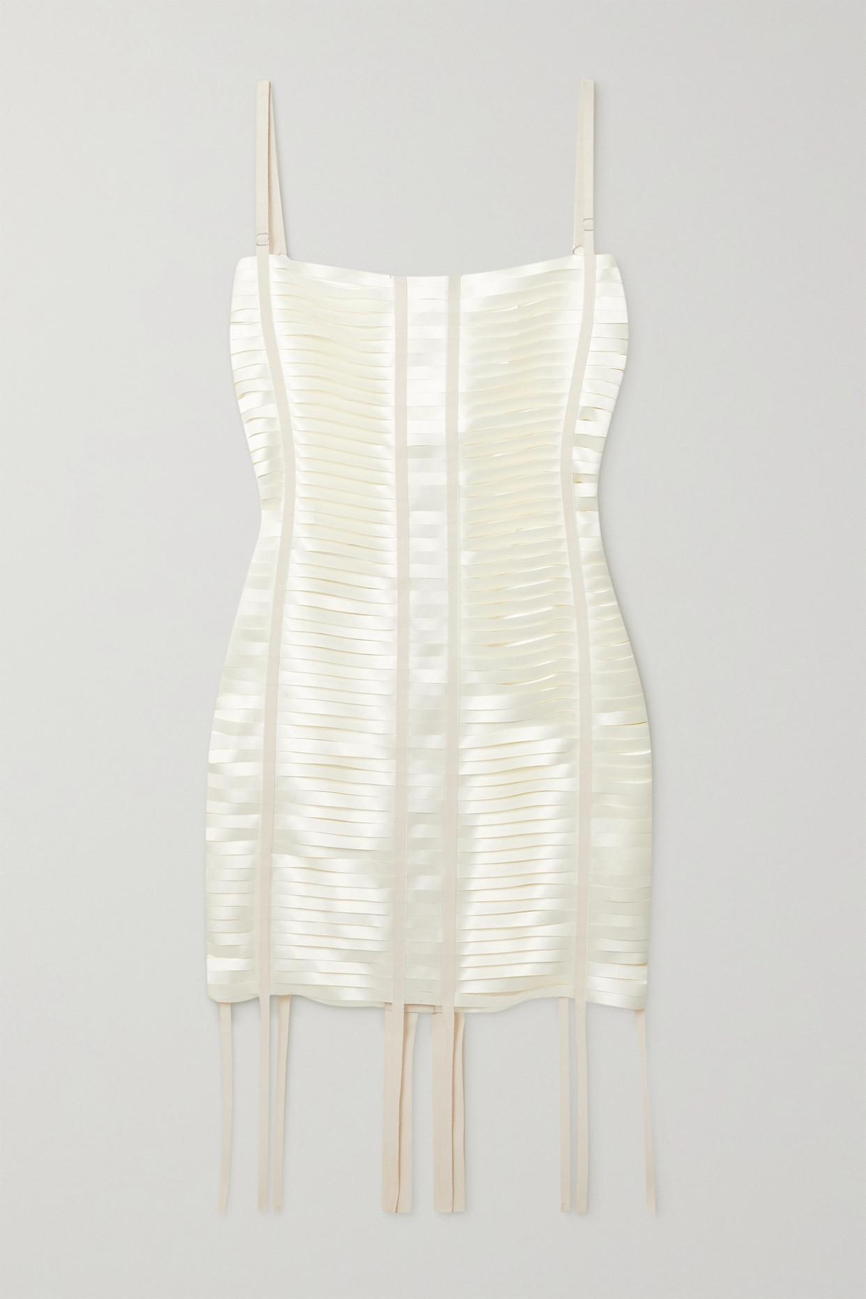 GIVENCHY - Grosgrain-trimmed Cutout Satin Mini Dress - White - FR38