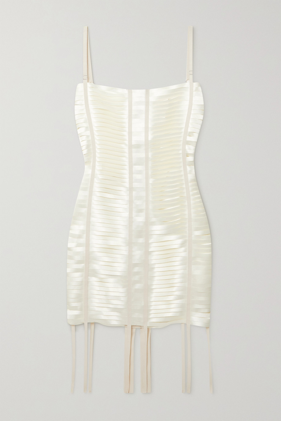 GIVENCHY Grosgrain-trimmed cutout satin mini dress