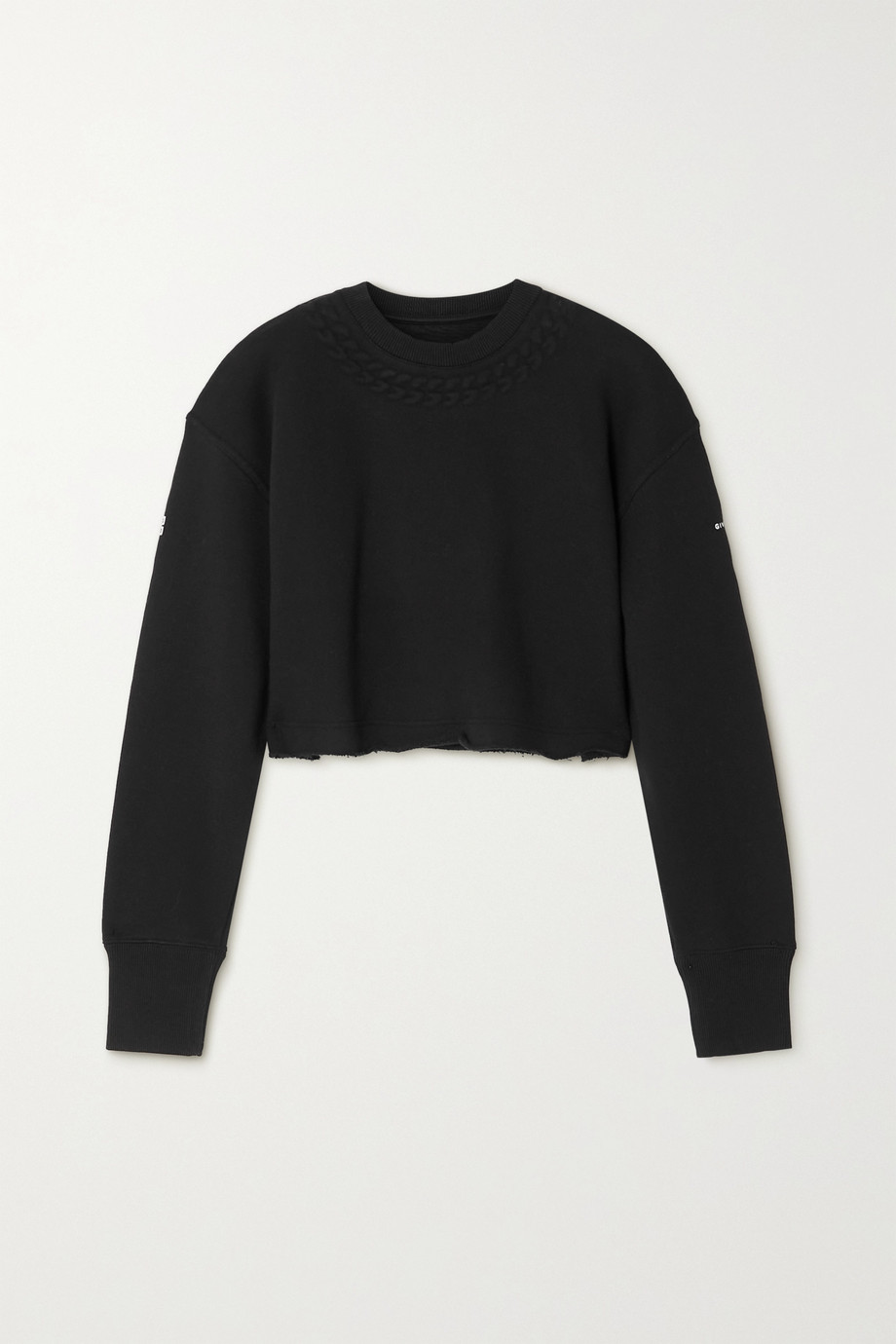 GIVENCHY Cropped embossed cotton-jersey sweatshirt