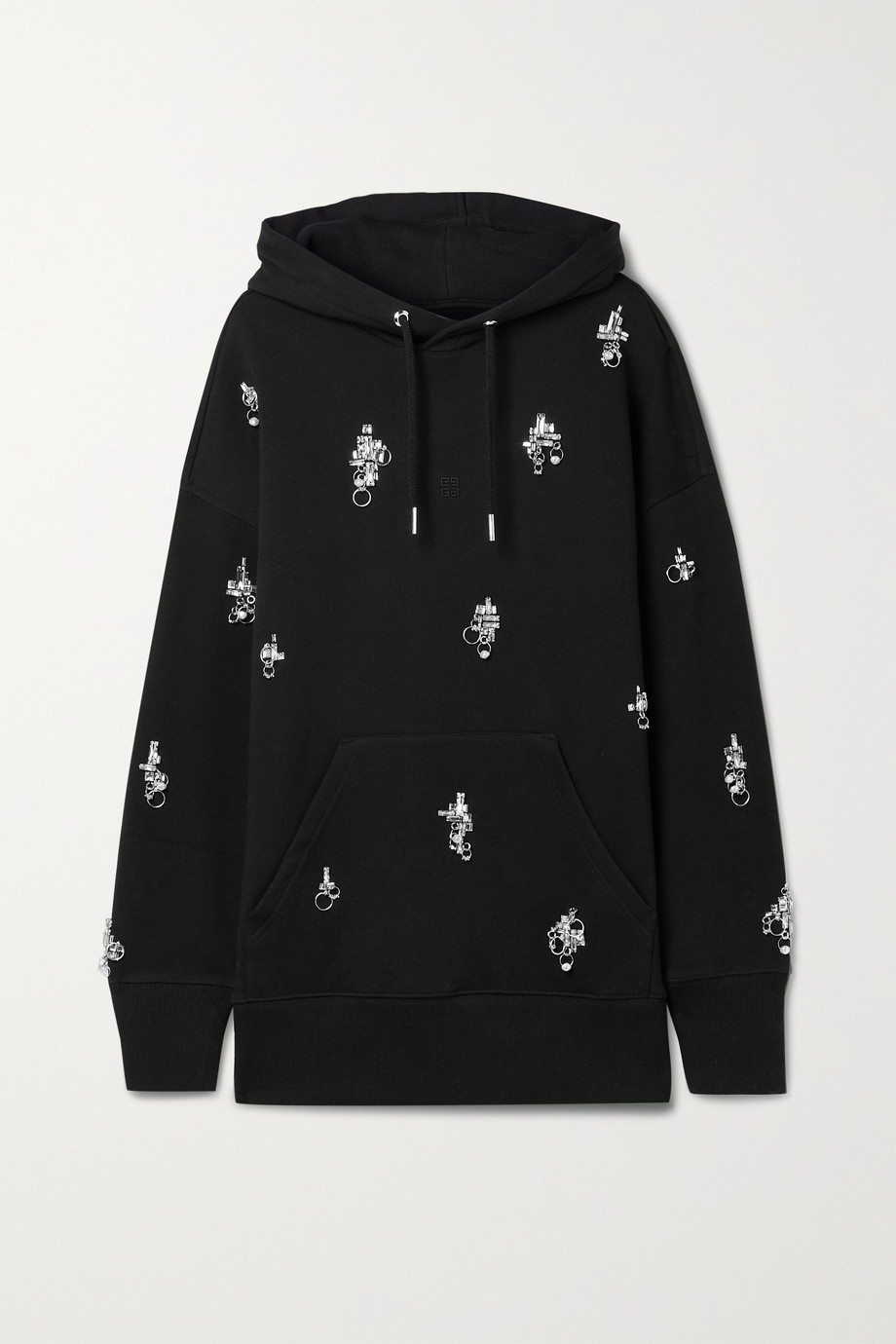 GIVENCHY Oversized embellished cotton-jersey hoodie