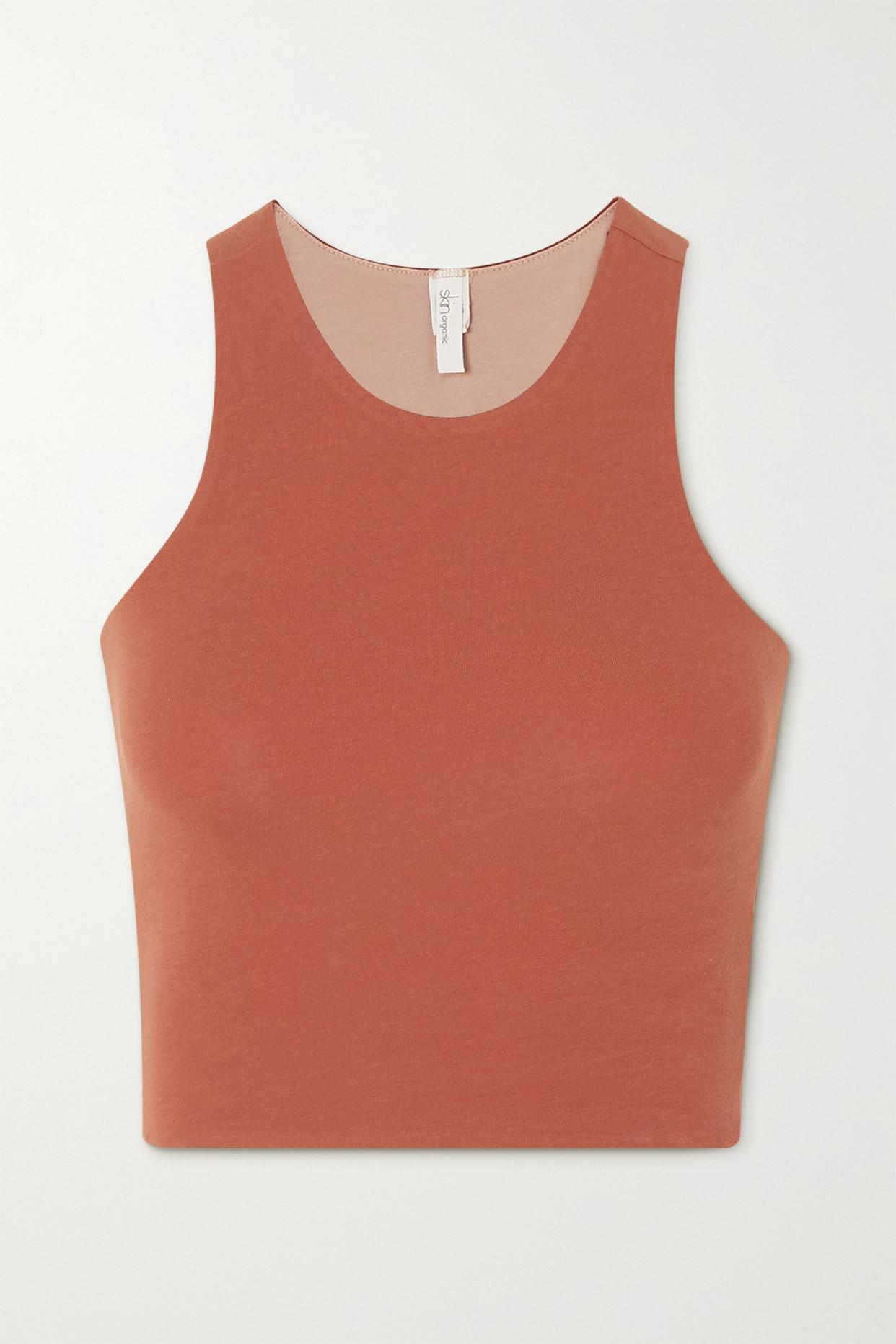 SKIN - + Net Sustain Calliope Reversible Cropped Stretch Organic Pima Cotton-jersey Tank - Brown - x