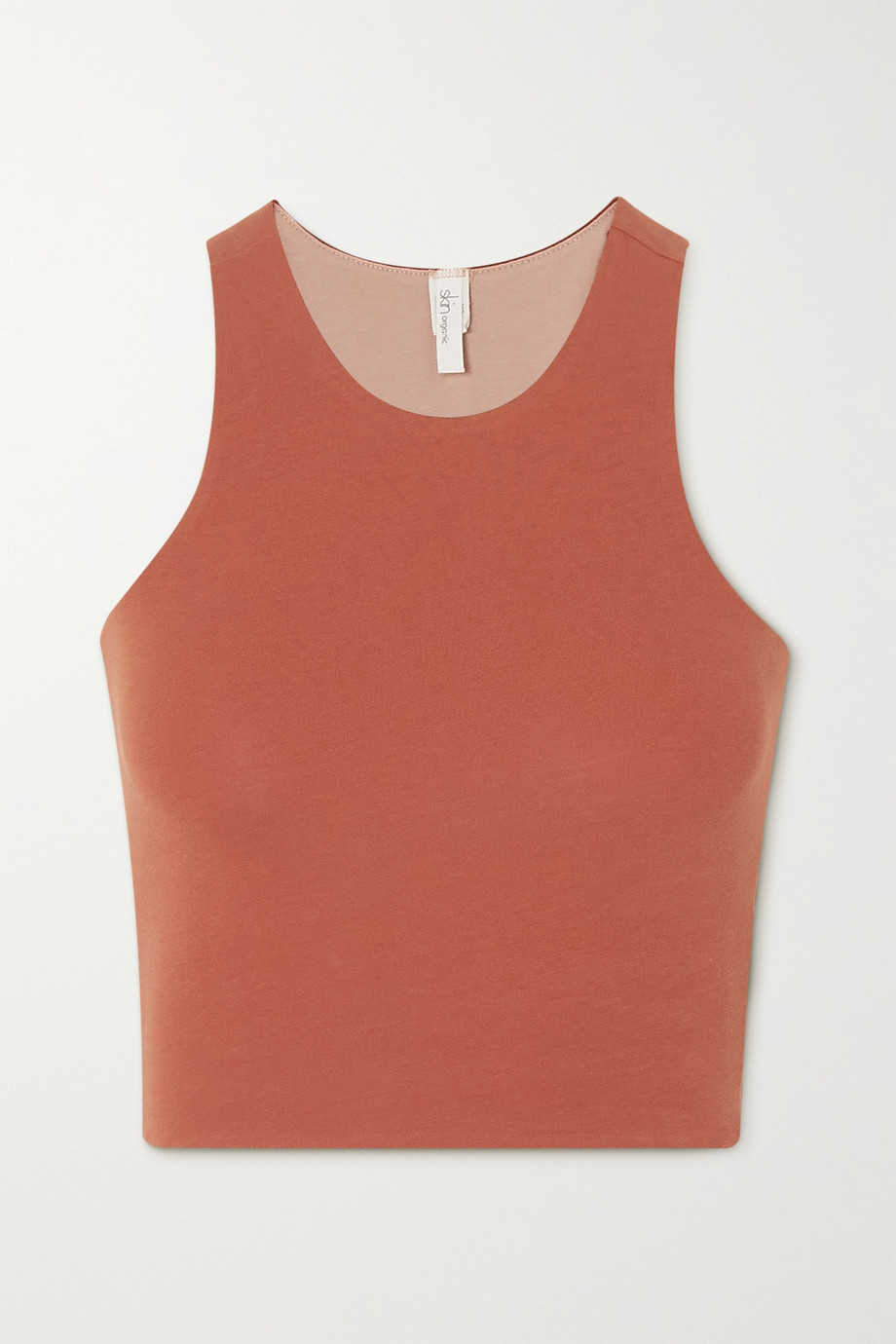 SKIN + NET SUSTAIN Calliope reversible cropped stretch organic Pima cotton-jersey tank
