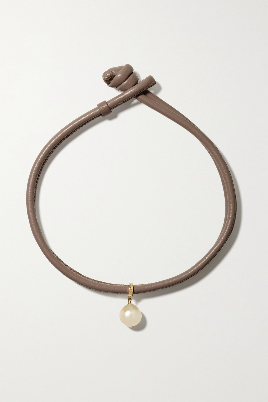 MIZUKI Convertible 14-karat gold, leather and pearl necklace