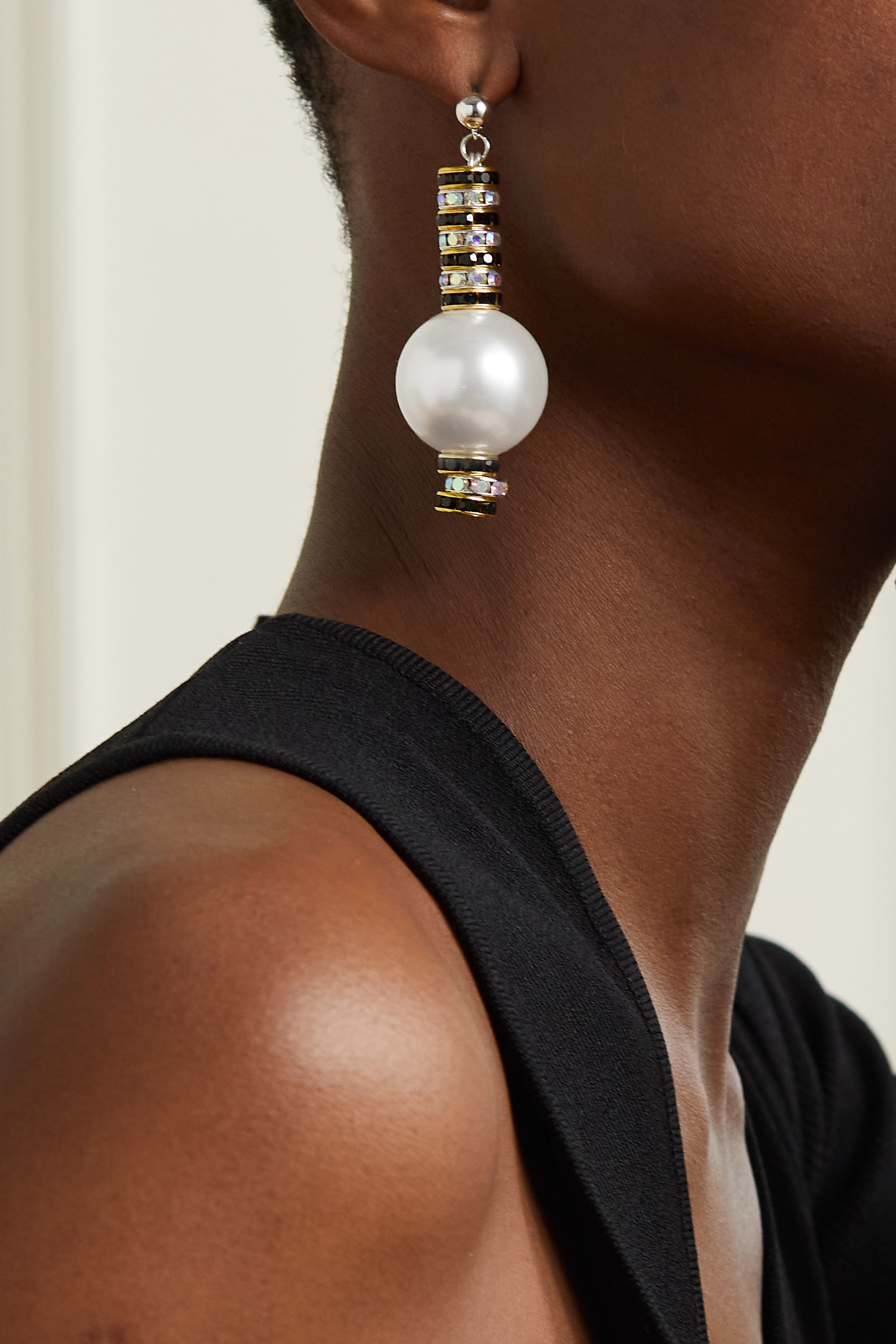 PEARL OCTOPUSS.Y Mini Zebra Snake gold and silver-plated, crystal and faux pearl earrings