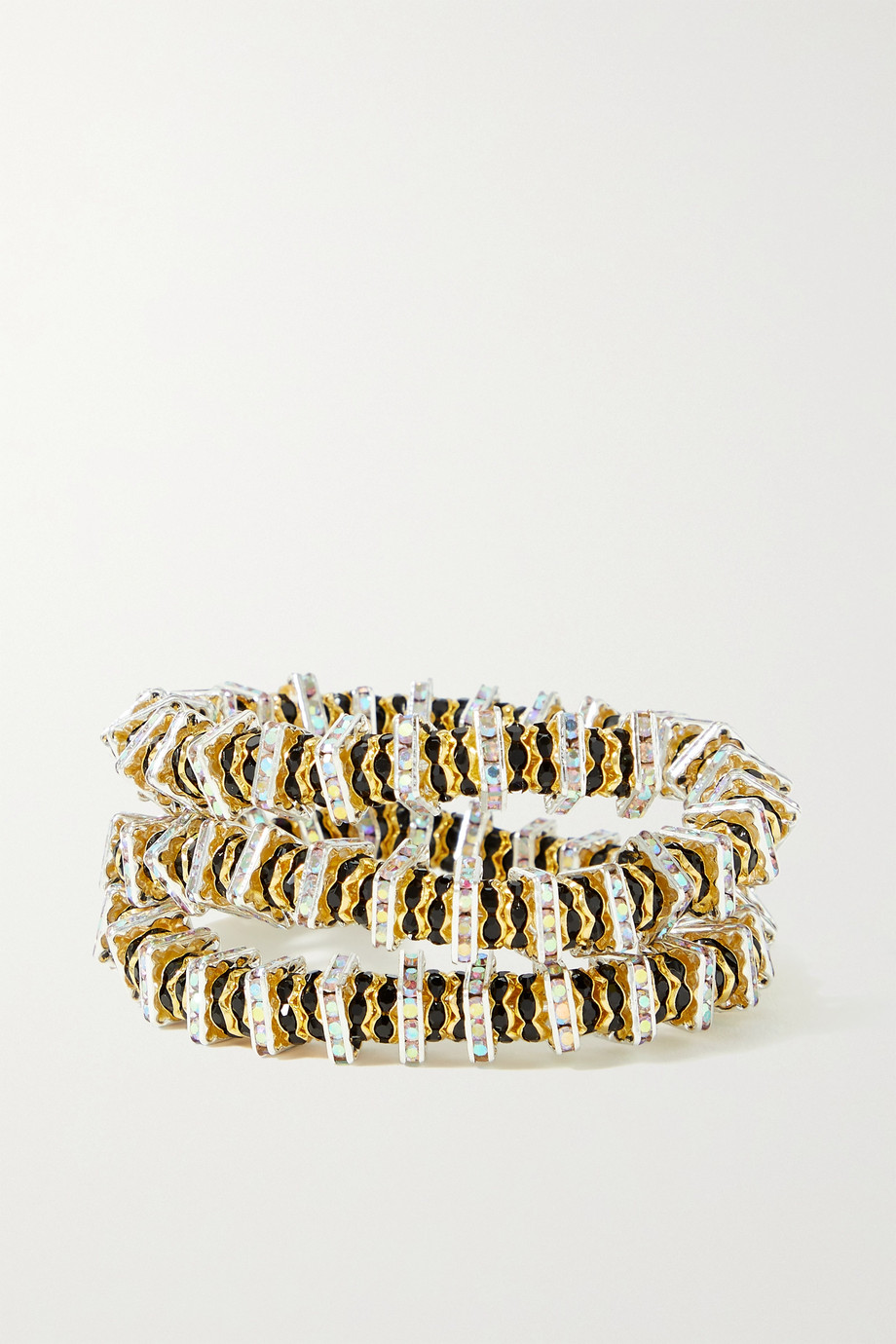 PEARL OCTOPUSS.Y Rattlesnake gold-plated crystal bracelet