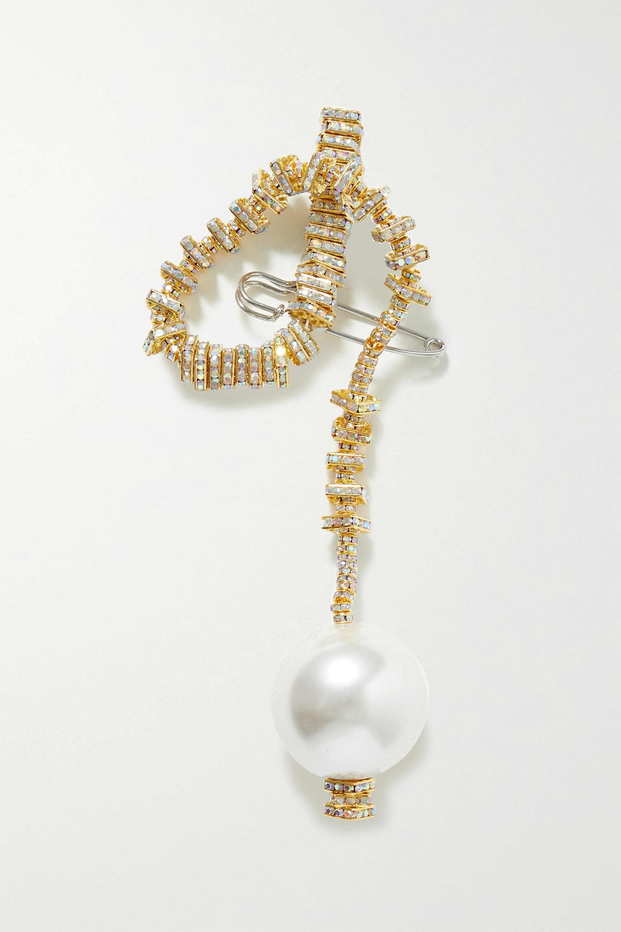 PEARL OCTOPUSS.Y Golden Snake gold-plated, crystal and faux pearl brooch
