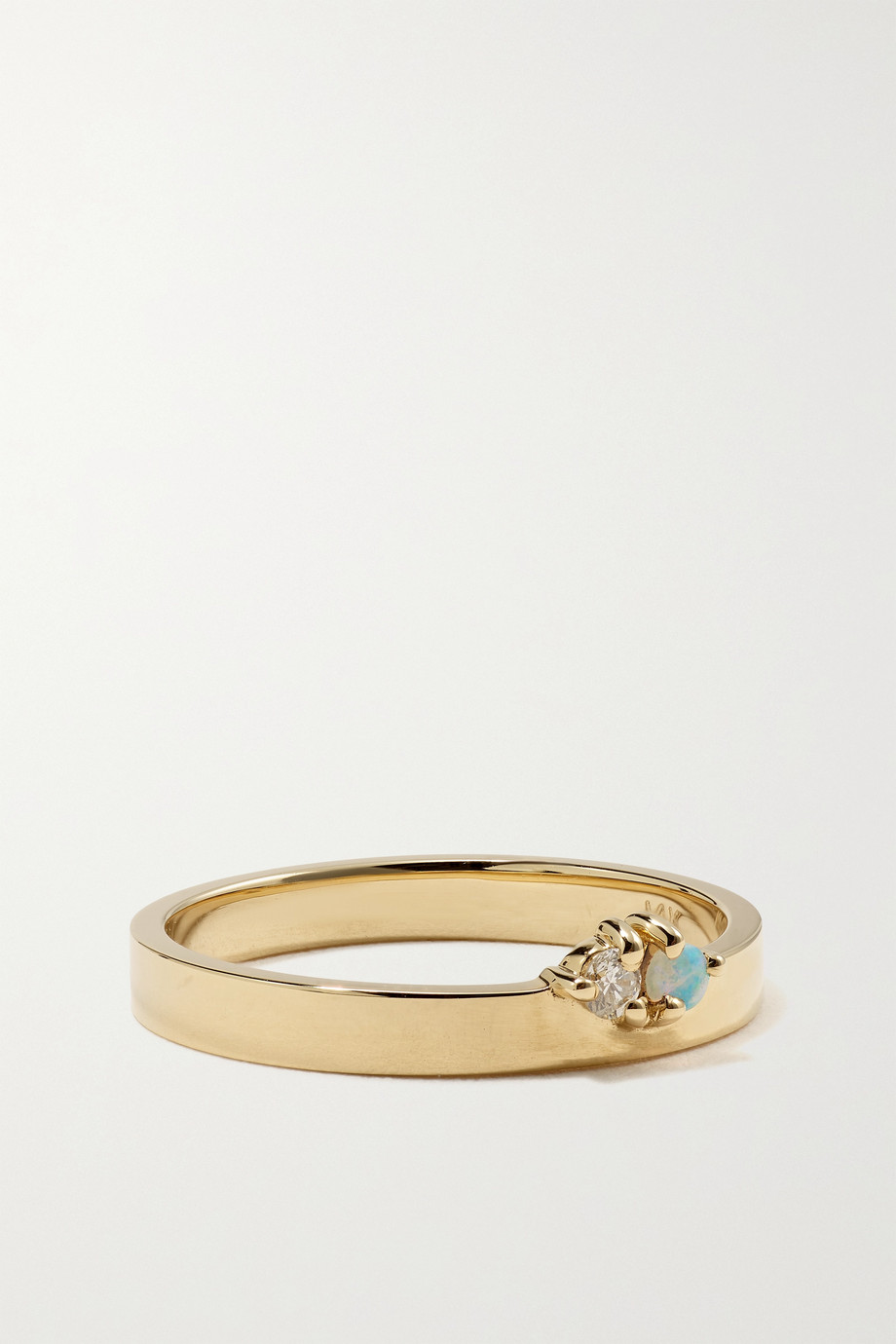 WWAKE Overton 14-karat gold, diamond and opal ring