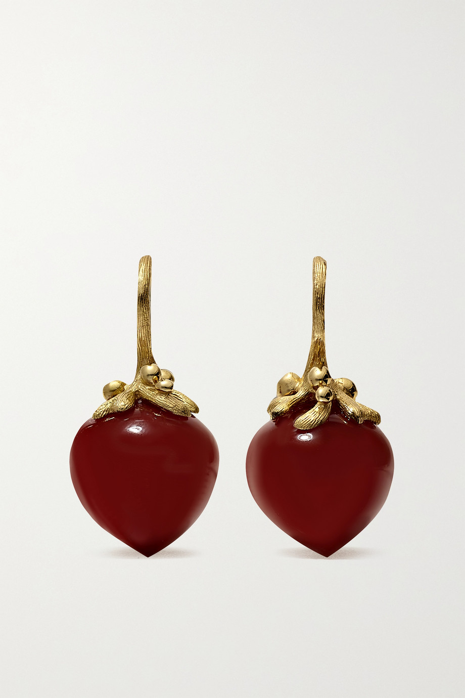 OLE LYNGGAARD COPENHAGEN Dew Drops Large 18-karat gold carnelian earrings