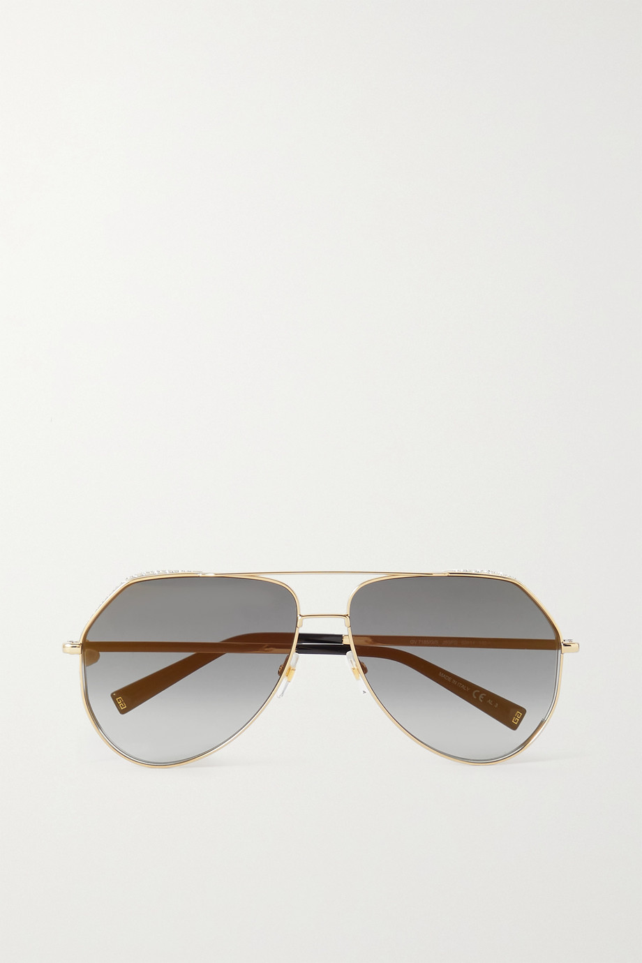 GIVENCHY Aviator-style crystal-embellished gold-tone sunglasses