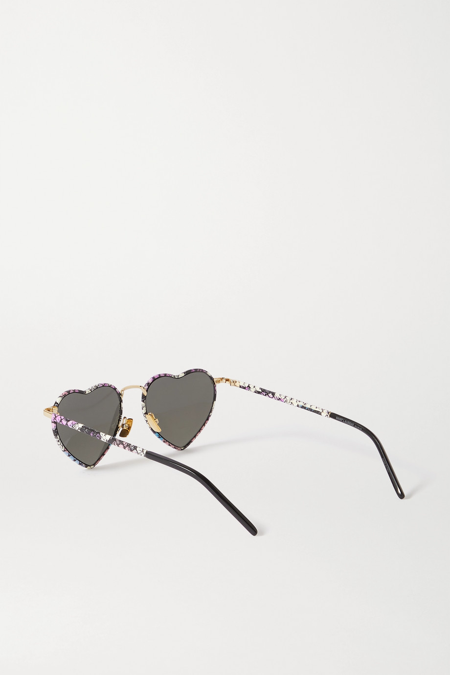 SAINT LAURENT Loulou heart-shaped snake-print acetate and gold-tone sunglasses